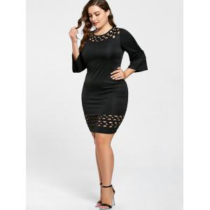 Plus Size Openwork Insert Tight Dress -