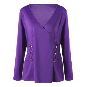 Plus Size Metal Buttons Plunging Neck Surplice Top -