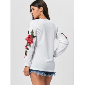 Long Sleeve Floral Applique Tunic Sweatshirt -