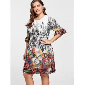 Drawstring Knee Length Butterfly Print Plus Size Dress -
