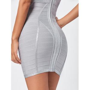 Metallic Plunging Neck Bandage Sheath Dress -