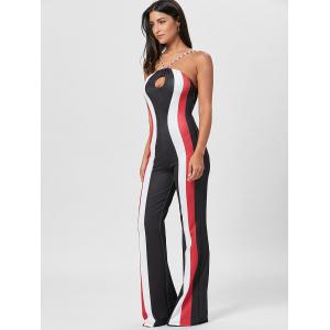 Keyhole Striped Spaghetti Strap Jumpsuit -