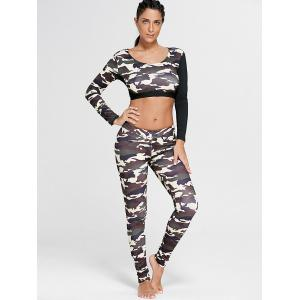 Camouflage Printed Sports Long Sleeve Crop Top -