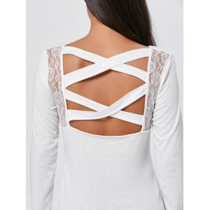 Lace Insert Long Sleeve Cross Back Tee -