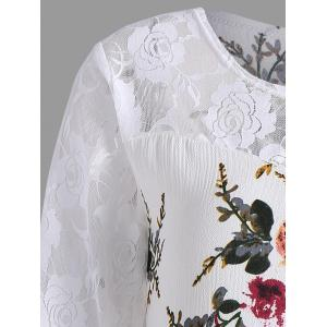 Lace Panel Floral Print Plus Size Top -