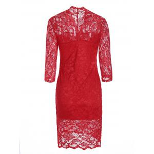 V Neck Lace Tight Fitted Sheath Dress -