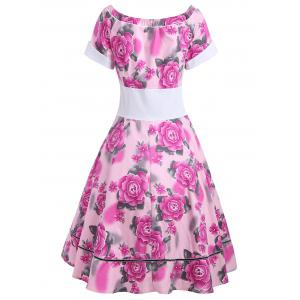 Empire Waist Flower Print 50s Swing Dress -