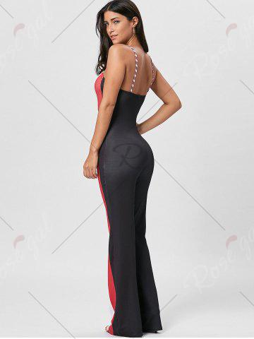 Chic Keyhole Striped Spaghetti Strap Jumpsuit - M RED Mobile