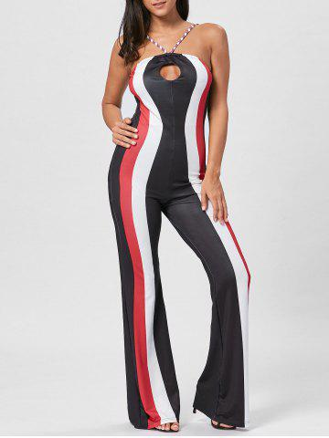 Trendy Keyhole Striped Spaghetti Strap Jumpsuit - M RED Mobile