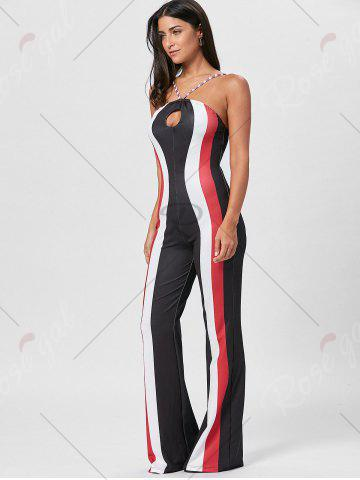 Chic Keyhole Striped Spaghetti Strap Jumpsuit - S RED Mobile