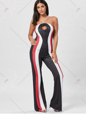 Sale Keyhole Striped Spaghetti Strap Jumpsuit - S RED Mobile