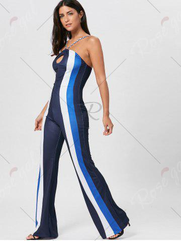 New Keyhole Striped Spaghetti Strap Jumpsuit - S BLUE Mobile