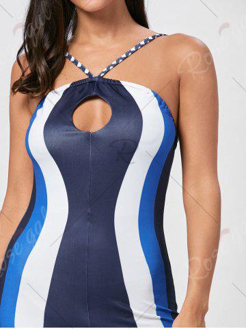 Buy Keyhole Striped Spaghetti Strap Jumpsuit - S BLUE Mobile