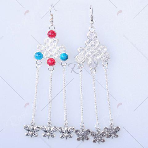 Fancy Butterfly Pendant Chinese Knot Fish Hook Earrings - SILVER  Mobile