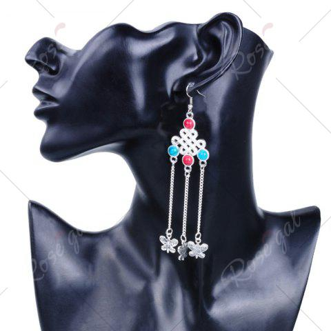 Affordable Butterfly Pendant Chinese Knot Fish Hook Earrings - SILVER  Mobile