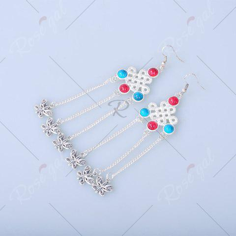 Trendy Butterfly Pendant Chinese Knot Fish Hook Earrings - SILVER  Mobile