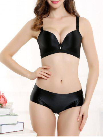 Outfit Push Up Seamless Adjustable Strap Bra - 85B BLACK Mobile