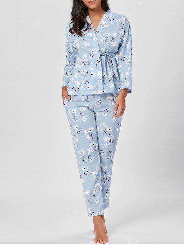 Online Wrap Floral Cotton PJ Set - L BLUEBELL Mobile