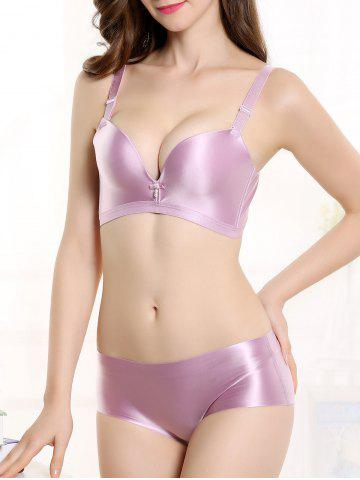 Affordable Push Up Seamless Adjustable Strap Bra - 80B LIGHT PURPLE Mobile