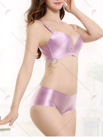 Best Push Up Seamless Adjustable Strap Bra - 80B LIGHT PURPLE Mobile