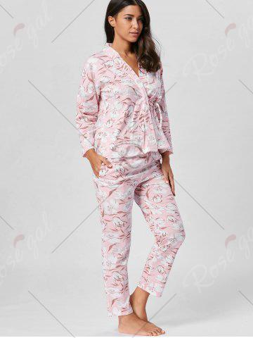 Hot Floral Wrap Pajamas Set with Sleeves - L LIGHT PINK Mobile