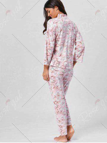 Discount Floral Wrap Pajamas Set with Sleeves - L LIGHT PINK Mobile