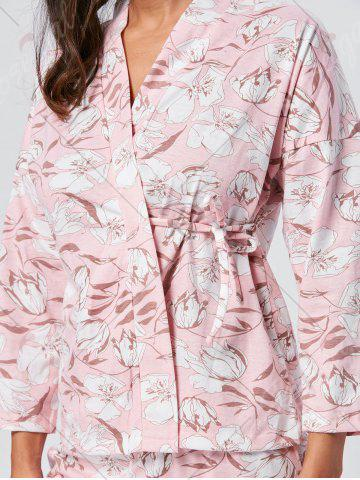 Affordable Floral Wrap Pajamas Set with Sleeves - L LIGHT PINK Mobile