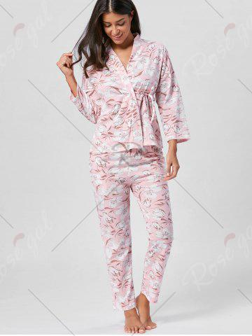 Shop Floral Wrap Pajamas Set with Sleeves - L LIGHT PINK Mobile
