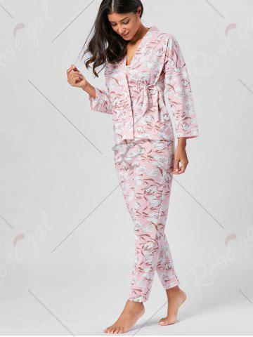 Chic Floral Wrap Pajamas Set with Sleeves - L LIGHT PINK Mobile