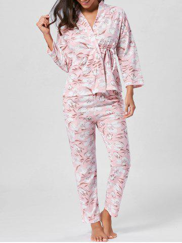 Store Floral Wrap Pajamas Set with Sleeves - L LIGHT PINK Mobile