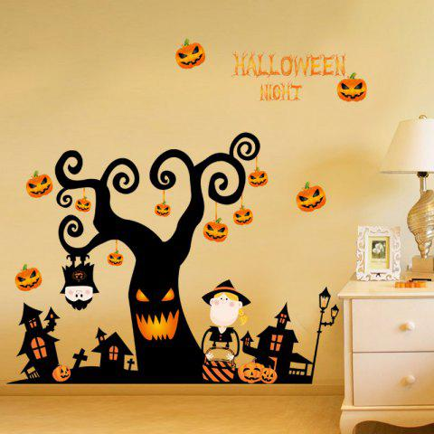 Black Diy Cartoon Halloween Tree Shape Decoration Wall Stickers ...