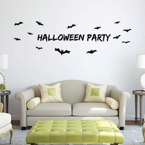 Bricolage Halloween Bats Shape Wall Stickers Noir
