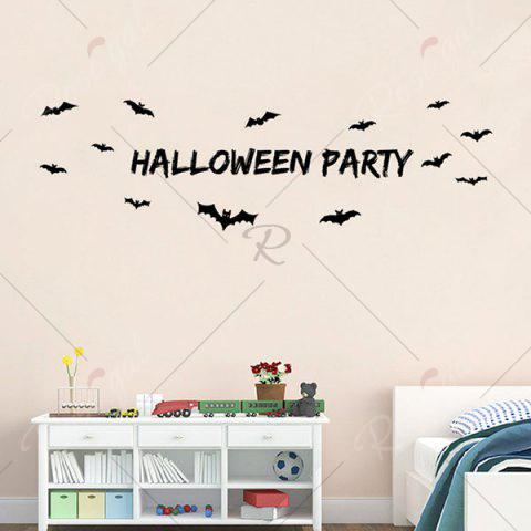 Affordable DIY Halloween Bats Shape Wall Stickers - BLACK  Mobile