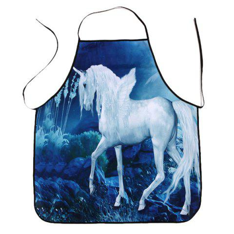 Outfits Unicorn Printed Waterproof Cooking Apron - 80*70CM BLUE Mobile