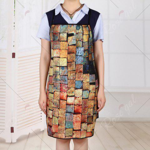 Best Psychedelic Brick Print Kitchen Product Apron - 80*70CM BRICK-RED Mobile