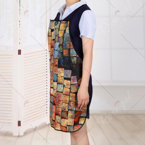 Cheap Psychedelic Brick Print Kitchen Product Apron - 80*70CM BRICK-RED Mobile