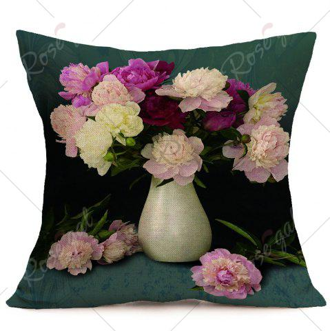 Cheap Peony Flower Pattern Decorative Pillow Case - W18 INCH * L18 INCH COLORMIX Mobile