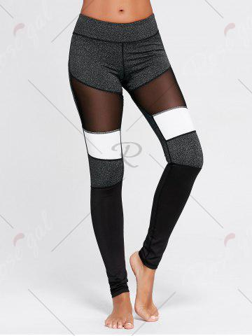 Fancy Two Tone Workout Tights with Mesh - S GRAY Mobile