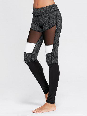 Fancy Two Tone Workout Tights with Mesh - M GRAY Mobile
