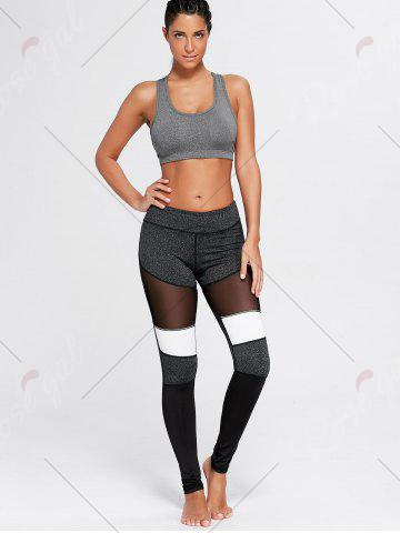 Best Two Tone Workout Tights with Mesh - L GRAY Mobile