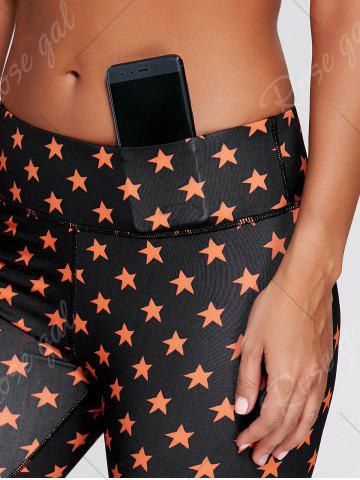 New Stars Printed Cropped Fitness Tights - S BLACK Mobile