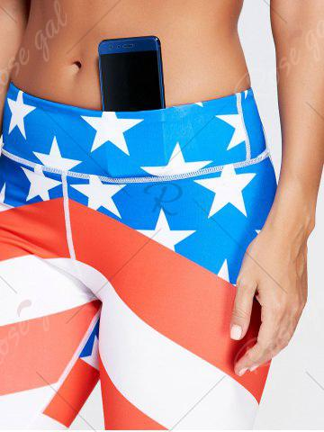 Cheap American Flag Patriotic Print Workout Leggings - M BLUE Mobile