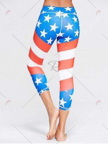 Unique American Flag Patriotic Print Workout Leggings - M BLUE Mobile