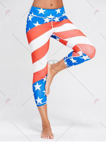 Buy American Flag Patriotic Print Workout Leggings - M BLUE Mobile