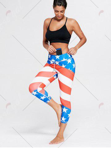 Fashion American Flag Patriotic Print Workout Leggings - M BLUE Mobile
