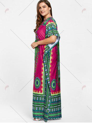 New Tribal Print V Neck Plus Size Long Dress - ONE SIZE ROSE RED Mobile