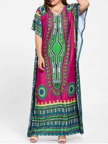Fashion Tribal Print V Neck Plus Size Long Dress - ONE SIZE ROSE RED Mobile
