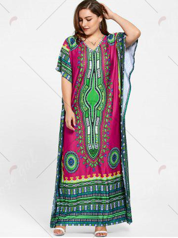 Cheap Tribal Print V Neck Plus Size Long Dress - ONE SIZE ROSE RED Mobile