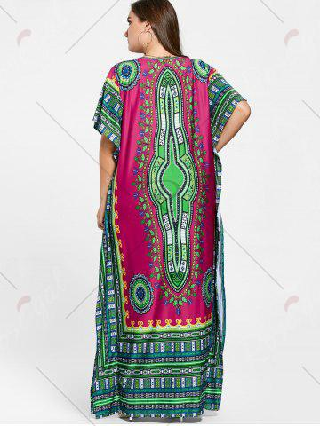 Store Tribal Print V Neck Plus Size Long Dress - ONE SIZE ROSE RED Mobile