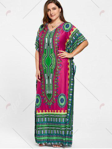 Affordable Tribal Print V Neck Plus Size Long Dress - ONE SIZE ROSE RED Mobile